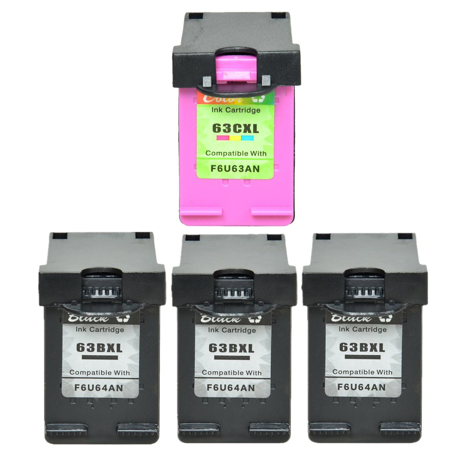 1PK Color 63XL Ink For HP ENVY 4512 4513 4516 4522 4523 4526 Printer 3PK Black