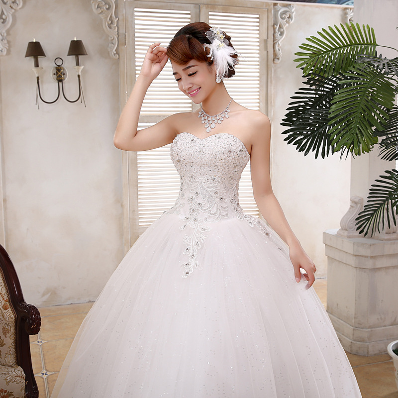 Newest Wedding Dress.Details About Pearl Strapless Floor Length Wedding Dress White Bandage Newest Bridal Gown