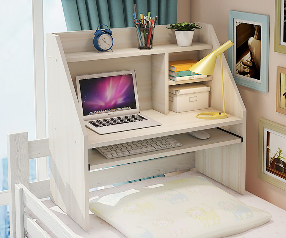 Modern Over Bed Computer Desk With Keyboard Shelf Bookcase Small
