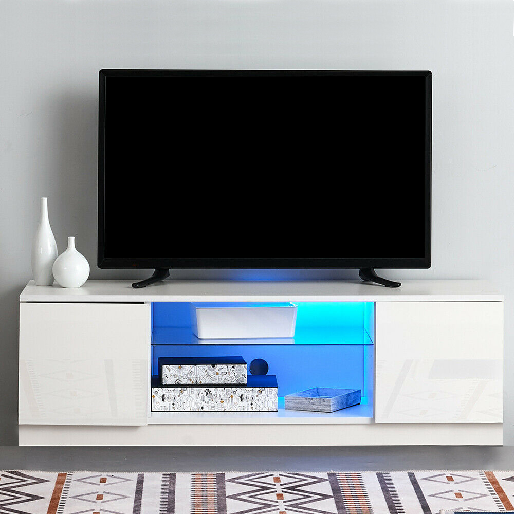 Details about Large TV Stand Cabinet with LED Lights Entertainment Floating  Wall Unit 120CM UK