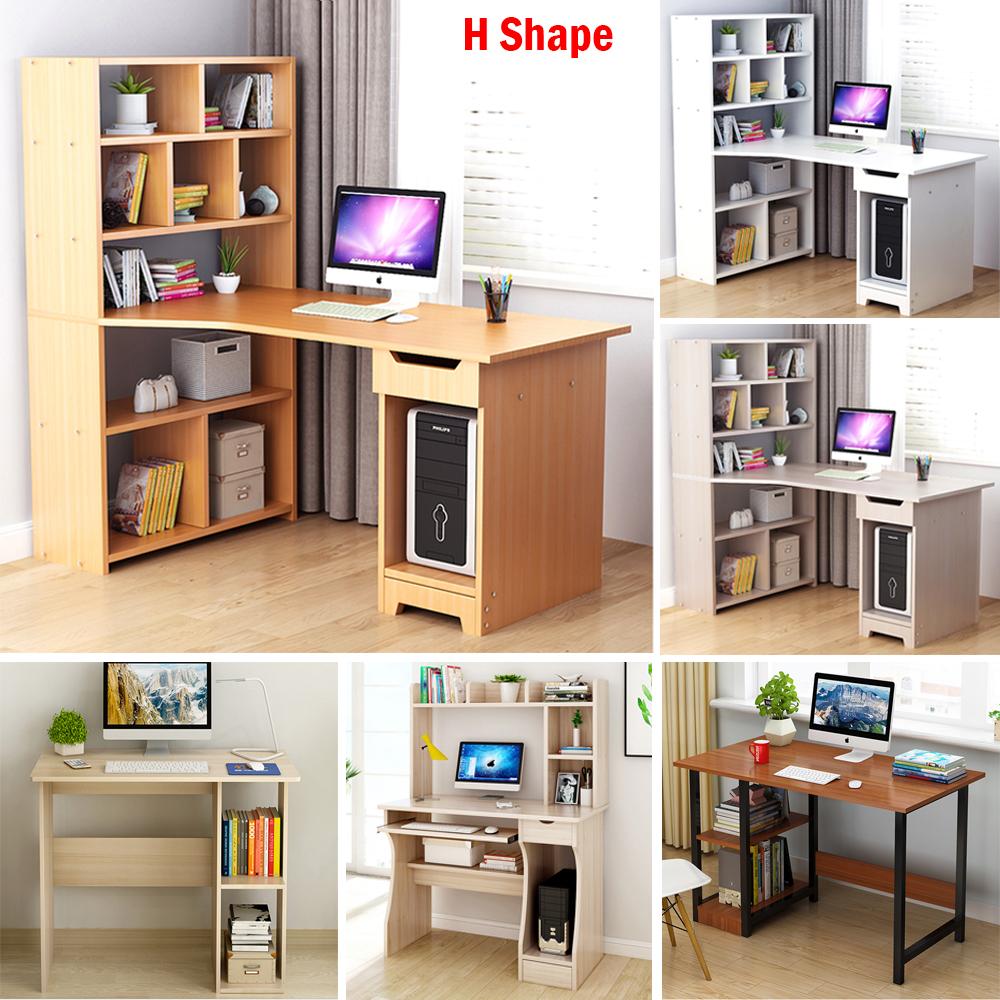 UK Computer Desk PC Table Glass Top /& Side Shelf Laptop Home//Office Workstation