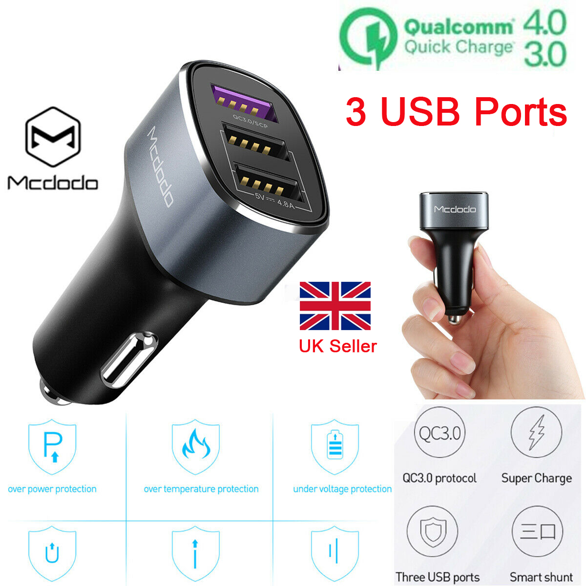 Quick Charge Qualcomm QC 3.0 4.0 Car Charger 3 Ports USB