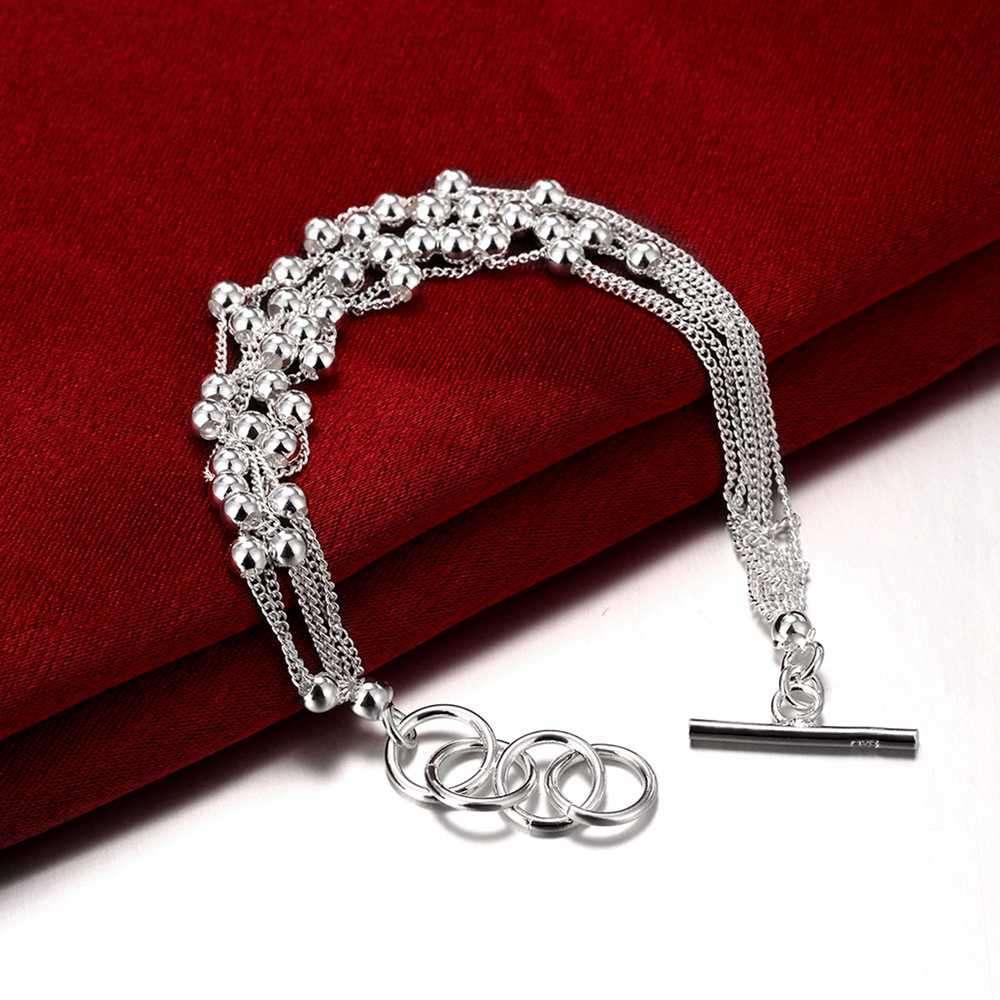 Wholesale 925Sterling Solid Silver Jewelry 6Chain Bright Bead Bracelet Women