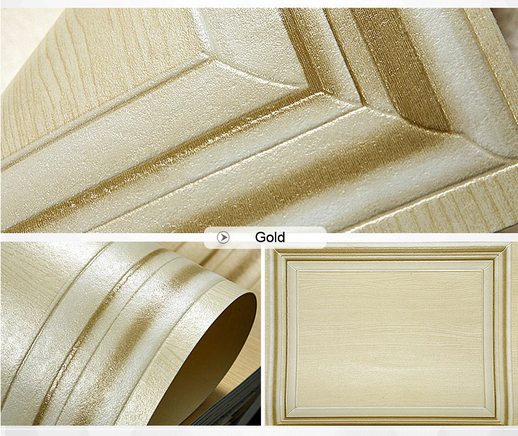 10M Luxury Silver Gold Square Embossed Textured Waterproof PVC Wallpaper Roll