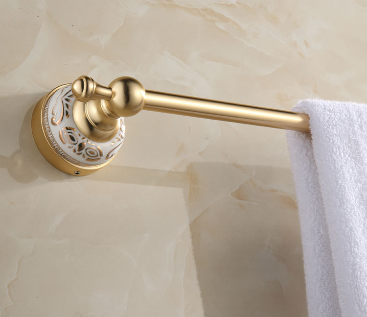 Gold Towel Rails For Bathrooms: LUXURY GOLD FINISH PORCELAIN BATHROOM SINGLE TOWEL RAIL