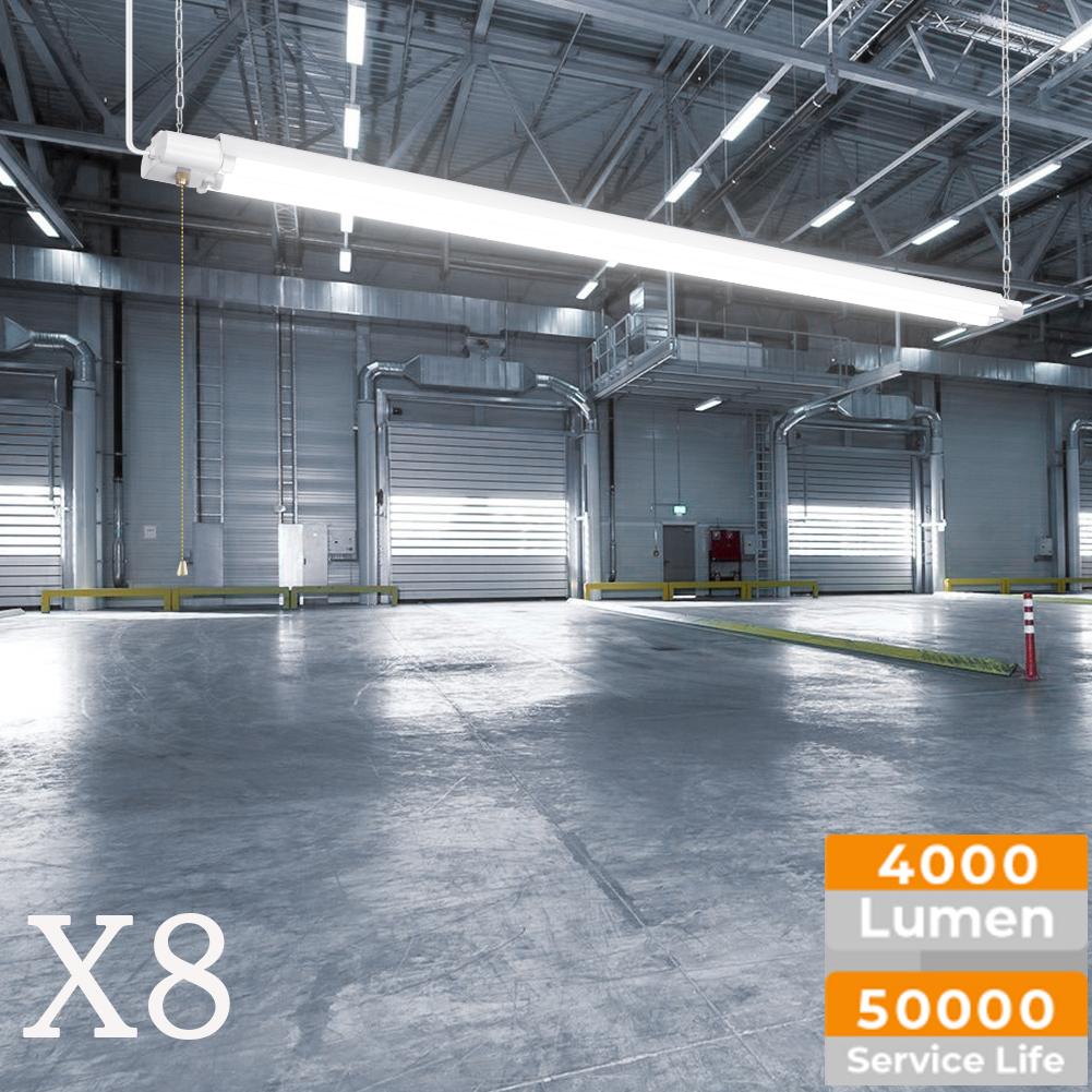 Details about 8 pack 4ft 40w led shop light utility troffer ceiling garage double tube fixture