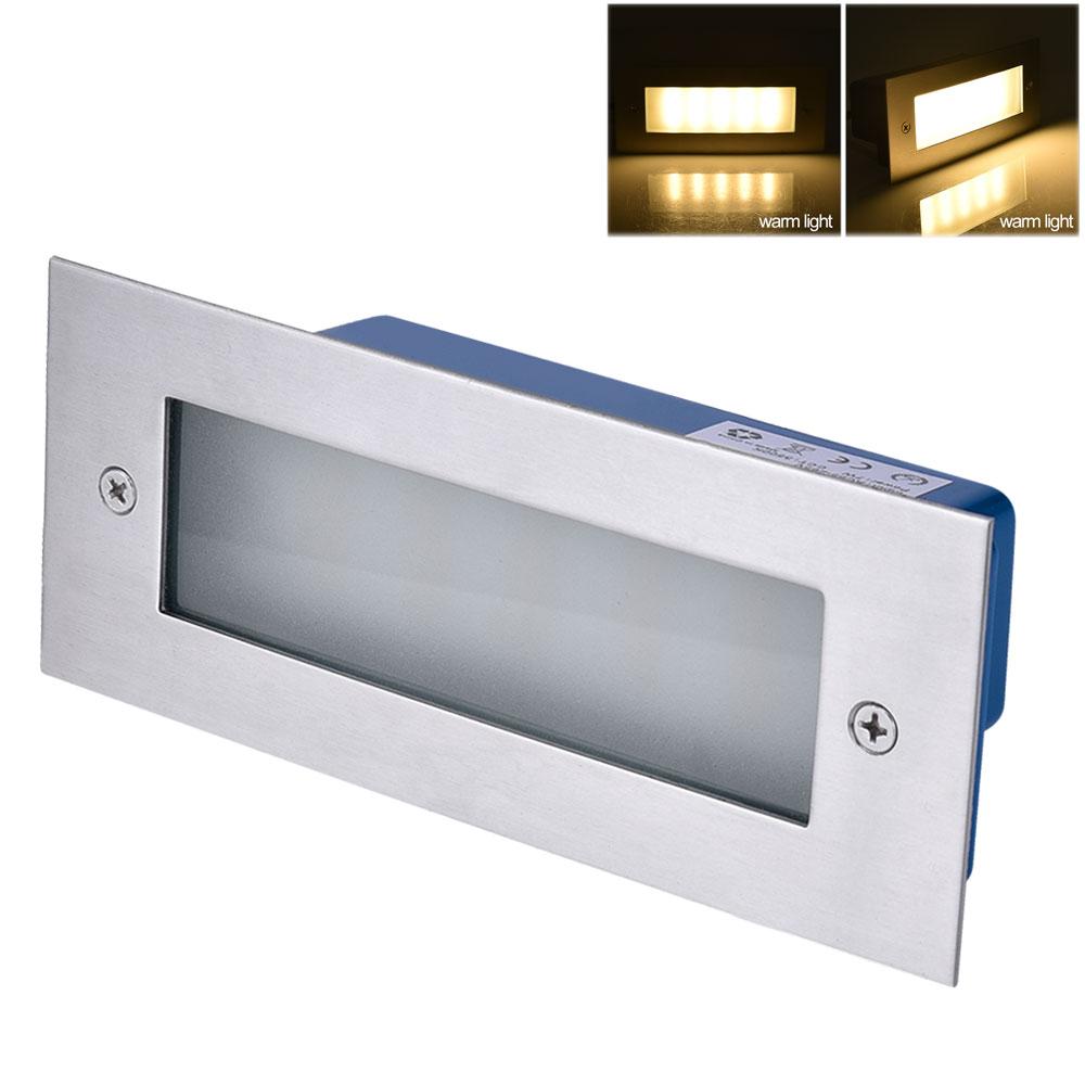 7W LED Wandeinbauleuchte Stufenleuchte Aussen Einbaustrahler IP65 Warmweiß DE