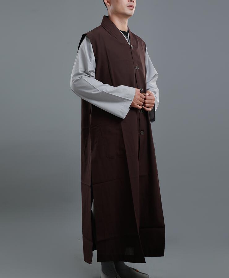 Unisex Shaolin Buddhist Monk Manyi sleeveless Kesa Robe Lay Meditation Gown Vest