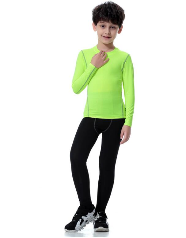 39991648e2a4 Kids Child Sports set running Yoga suit Boys Gym Fitness Tight workout  clothes