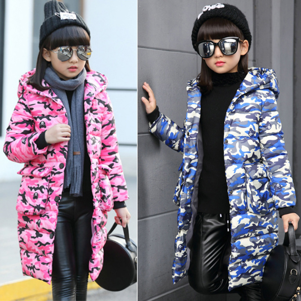 92ae566dc7c0 Winter girls Camo puffer down coat kids padded jacket long hooded ...