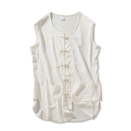 Vintage Men Sweatshirt Chinese Style Cotton Linen Sleeveless Shirts Casual tops