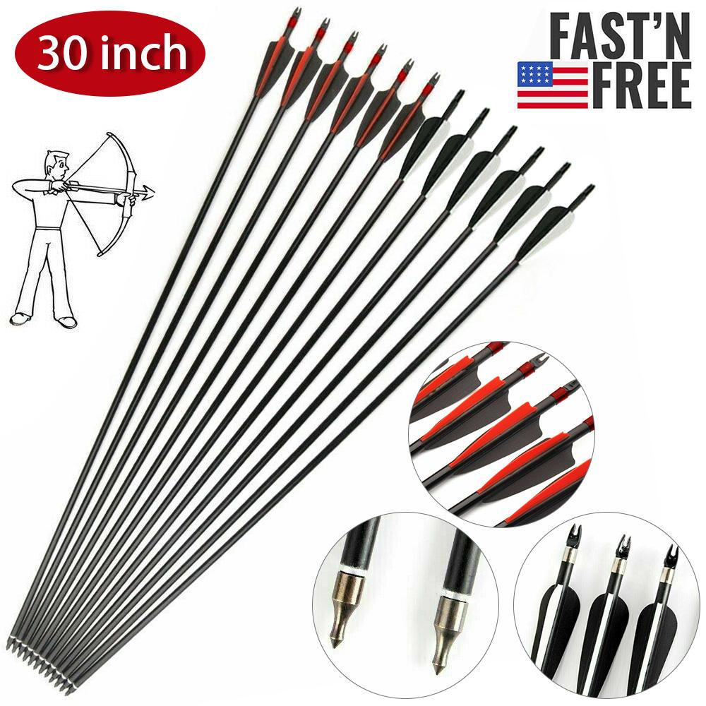 6Pcs 30inch Archery Fiberglass Arrows 7.8mm Spine500 For Compound Recurve Bow US