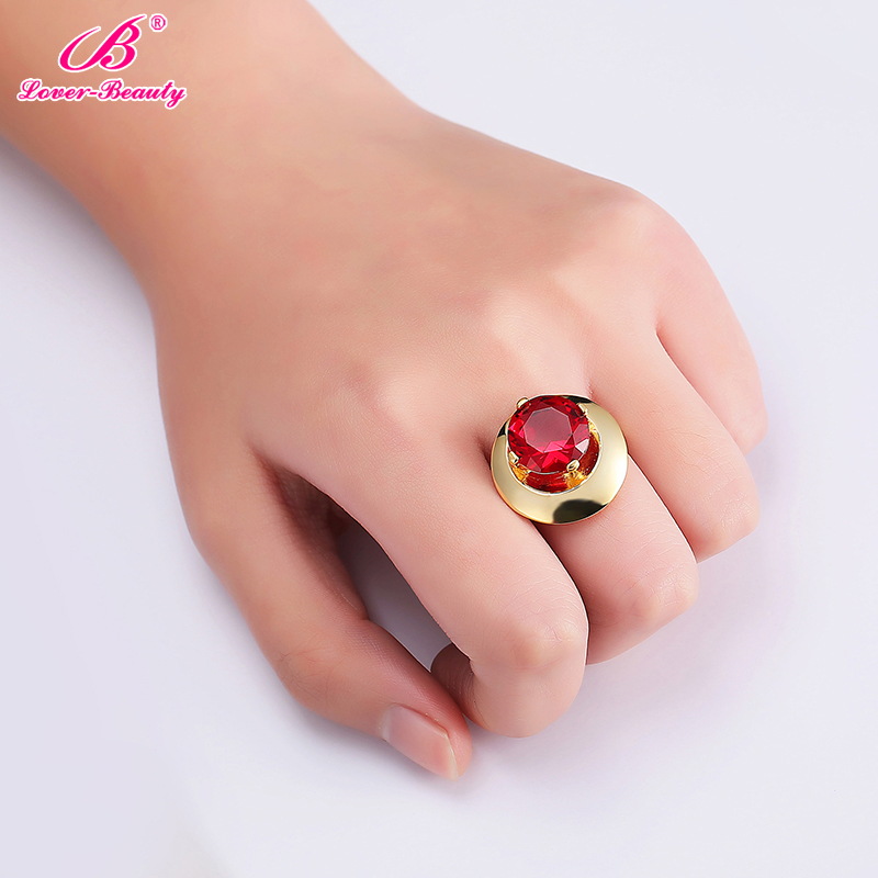 18k Gold Ring Red Zircon Ring Vintage Ruby Ring Black Stone Ring