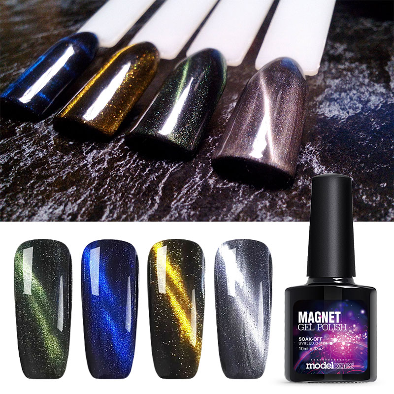 10ML Gel Nail Polish Magnetic Cat Eye Varnish Soak Off Top Base Coat ...