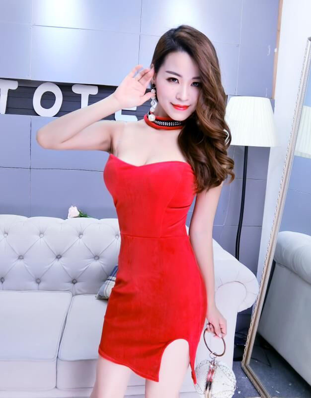 2017-Sexy-Halter-Velour-Party-Cocktail-Clubwear-Bodycon-Mini-Dress-Prom-Gown