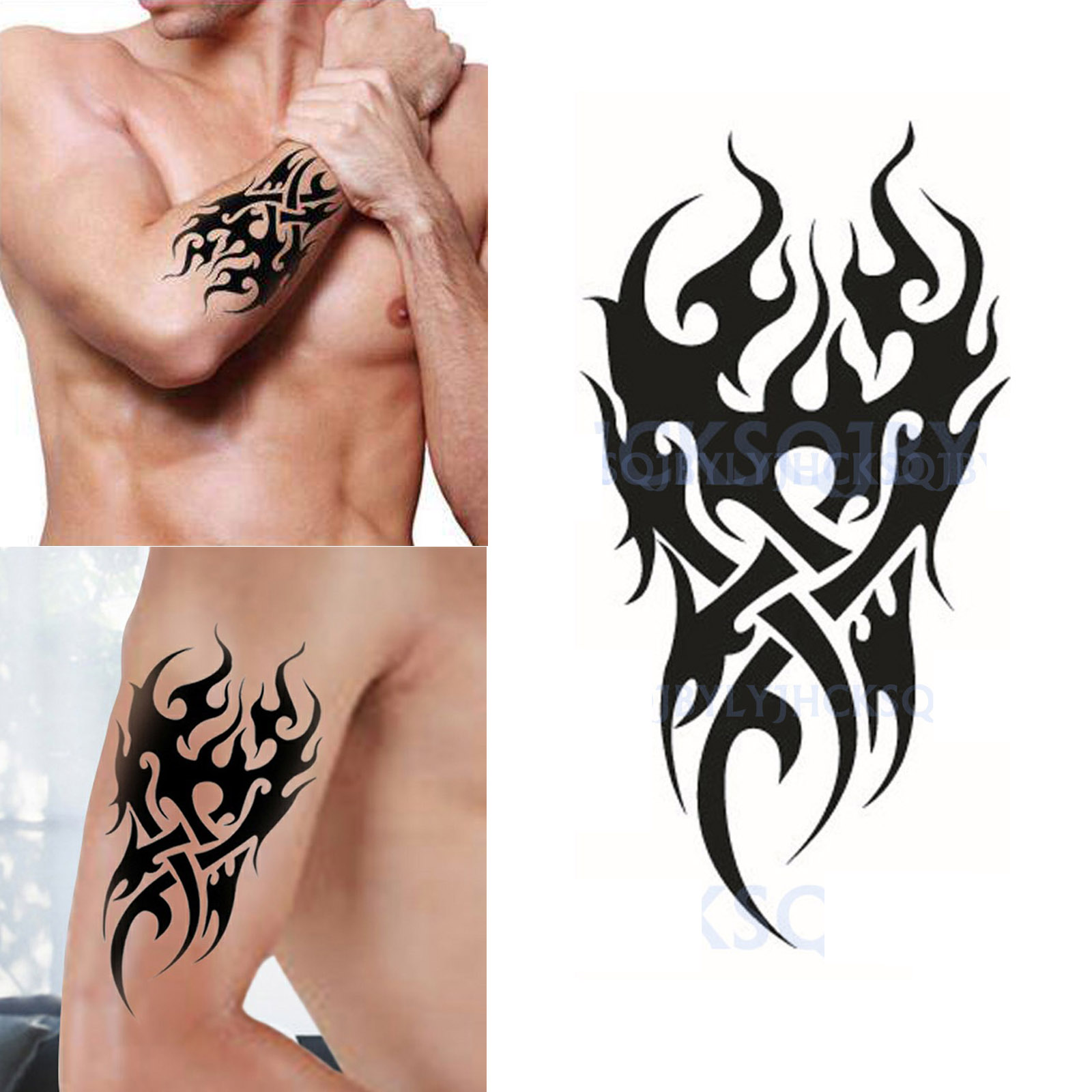 Image is loading black flame totem men 039 s temporary tattoo