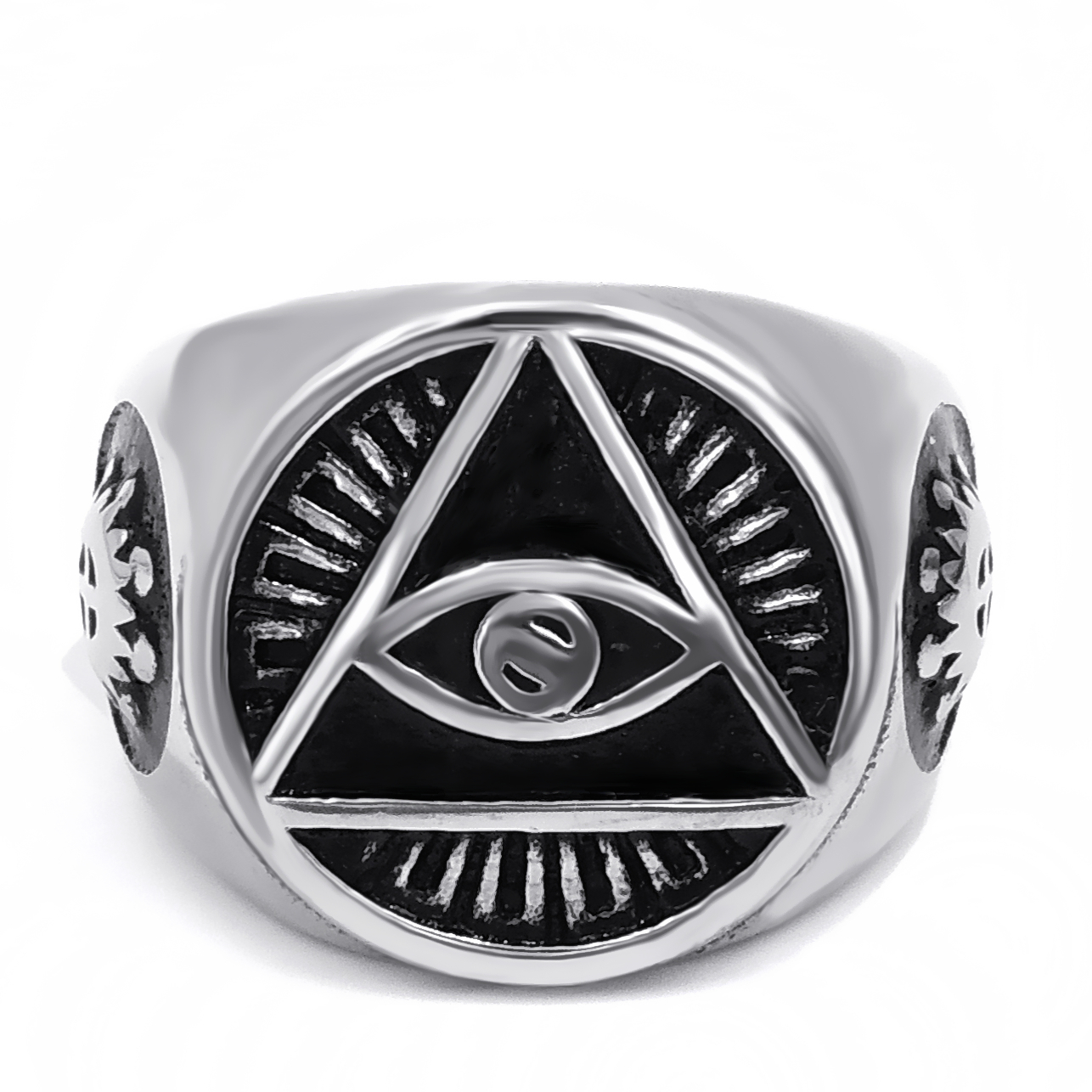 Stainless Steel Ring Illuminati The All Seeing Eye Illunati Pyramid