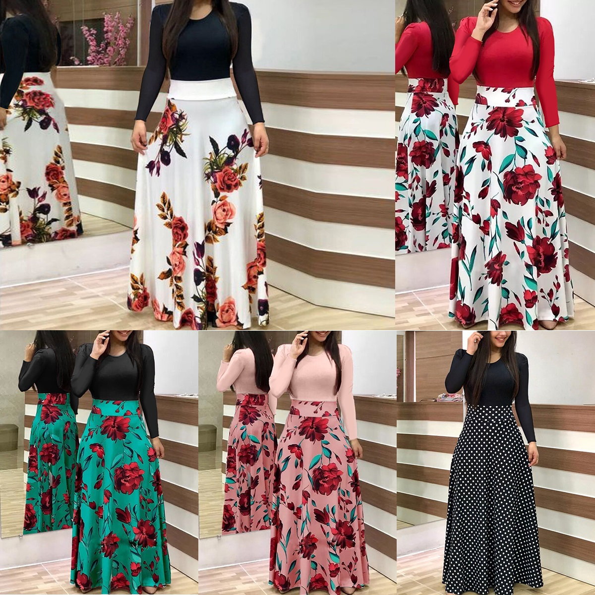 0b2232636a Flower Print Maxi Dress With Sleeves - Data Dynamic AG
