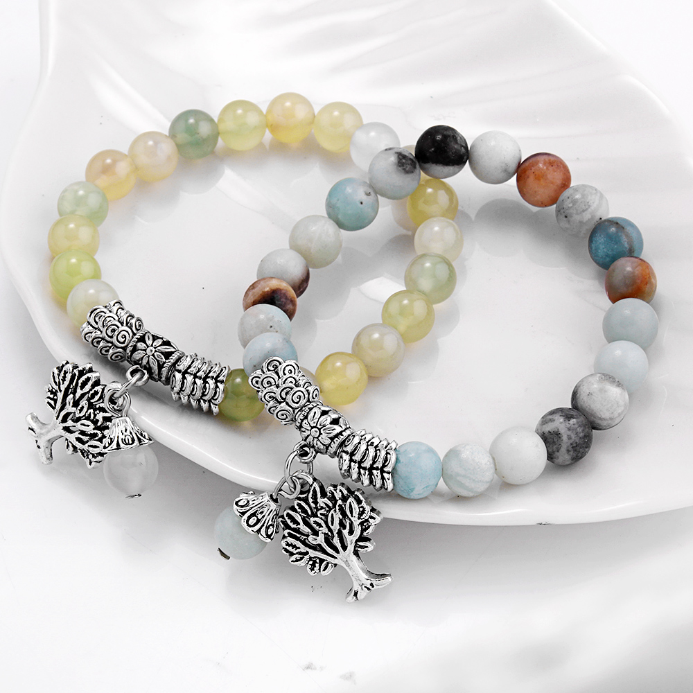 Women/'s Multicolor Natural Stone Beaded Hematite Charm Bracelet Stretchable Gift
