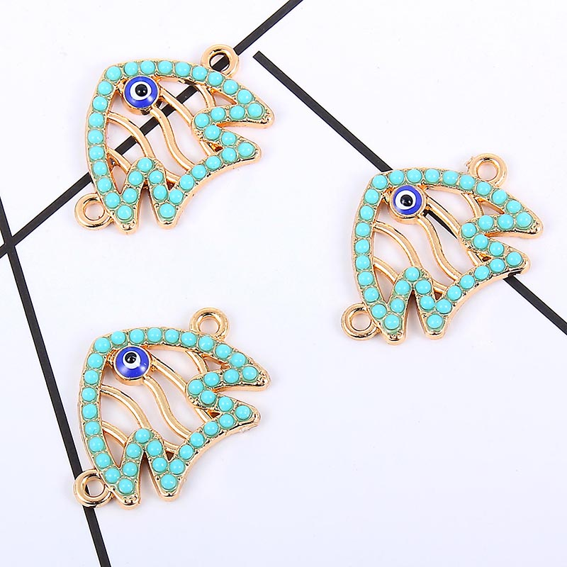 10 Pc Blue Fish Shape Alloy Enamel Connector DIY Jewelry Making Pendant Necklace