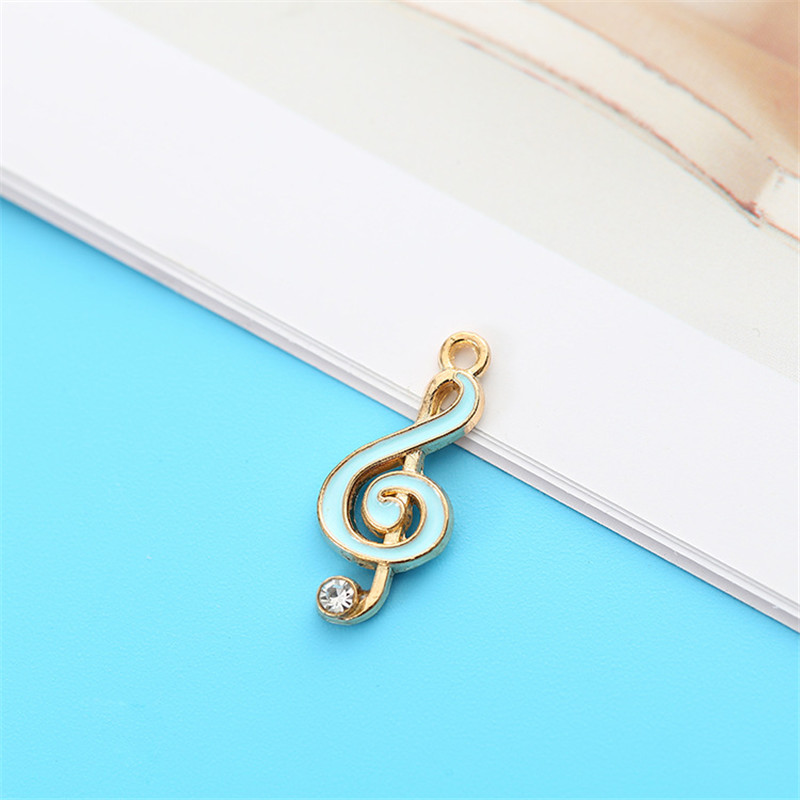 10PCS Cute Enamel Music Note Charms Pendant Fit DIY Earrings Jewelry Accessories