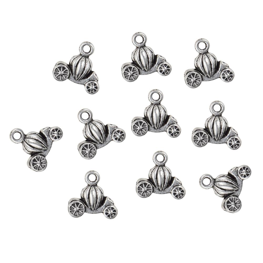 10 un Coche de Juguete granos encantos colgante de aleación de plata tibetana hágalo usted mismo Collar haciendo