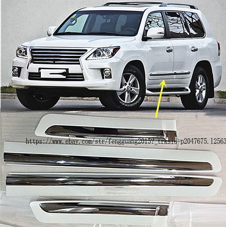 For LEXUS LX570 2008-2015 4pcs ABS Chrome Door Body Bottom Strips Cover Trim
