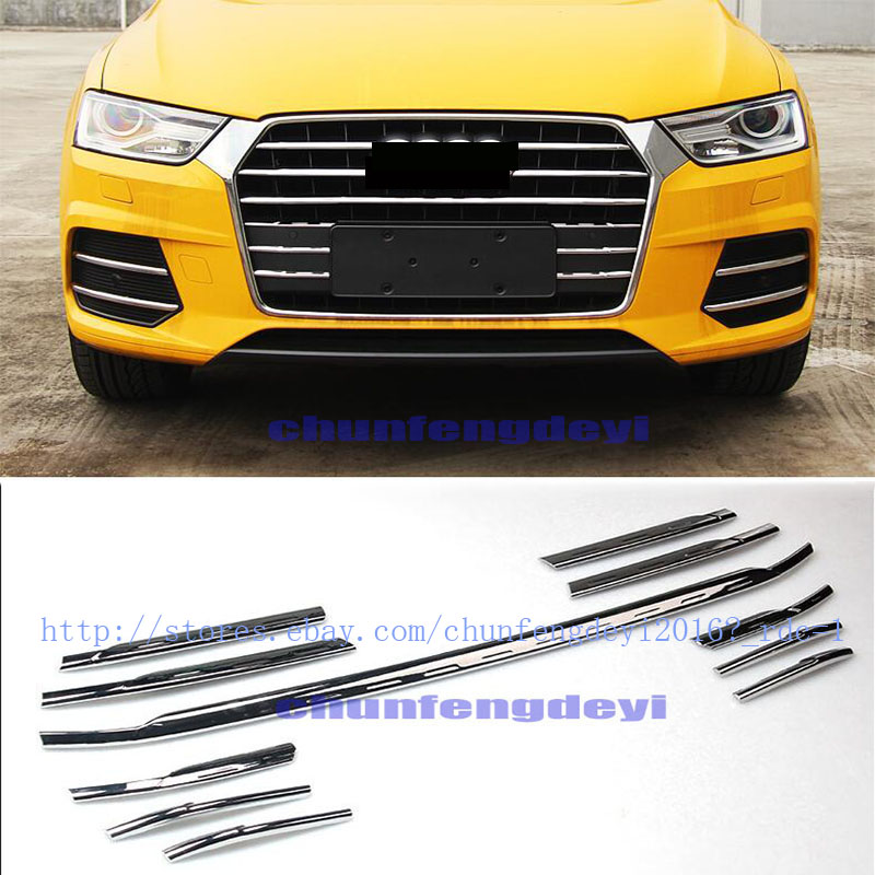 Chrome Car Front Corner Side Grill Lower Mesh Cover Trims For Audi Q7 2016 2017