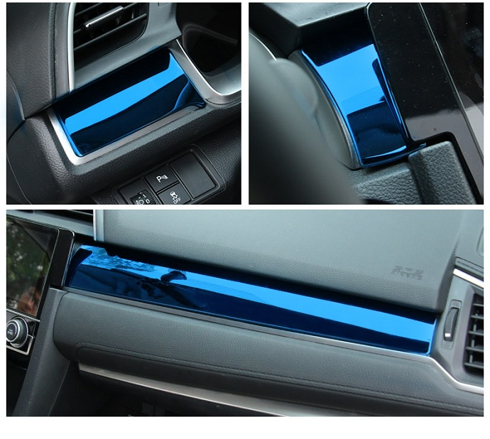 Blue Console Air Condition /& Start Engine Trim Cover For Honda Civic 2016-2019