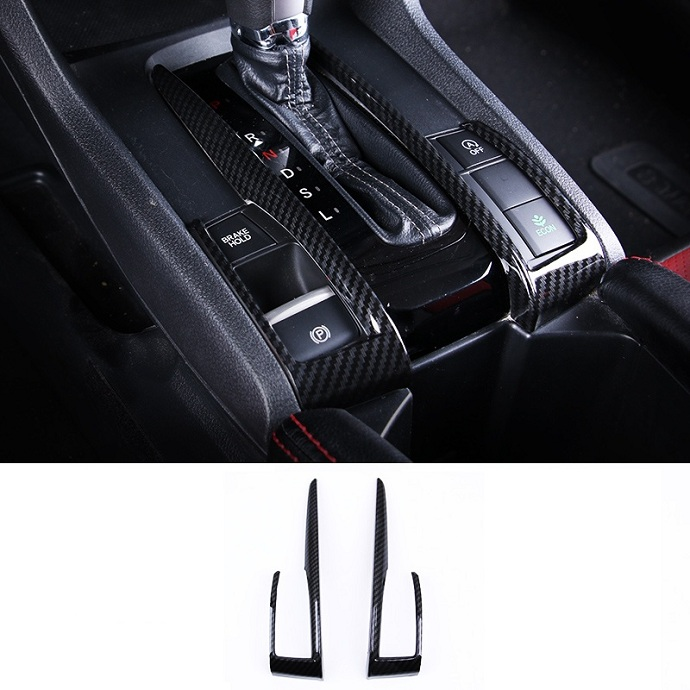 Carbon Fiber Interior Decoration Decal Frame Cover Trim for Honda Civic Si Tenth Generation 2016-present Gear Shift Frame Trim