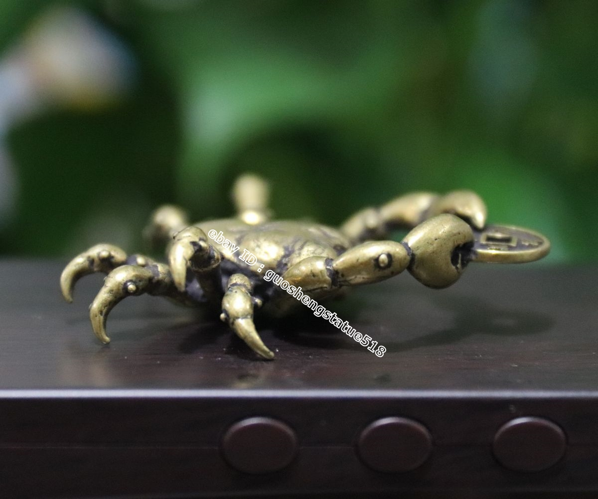 5 CM Chinese Pure Bronze  river crab get rich Money Fengshui Wealth Pendants