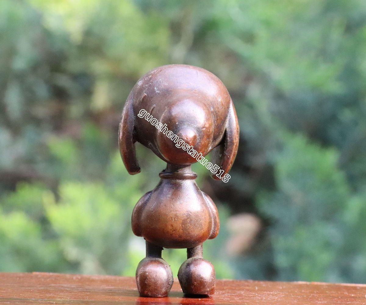 6 CM Chinese red Copper Migru hound Beagle Snoopy cartoon dog Animal sculpture