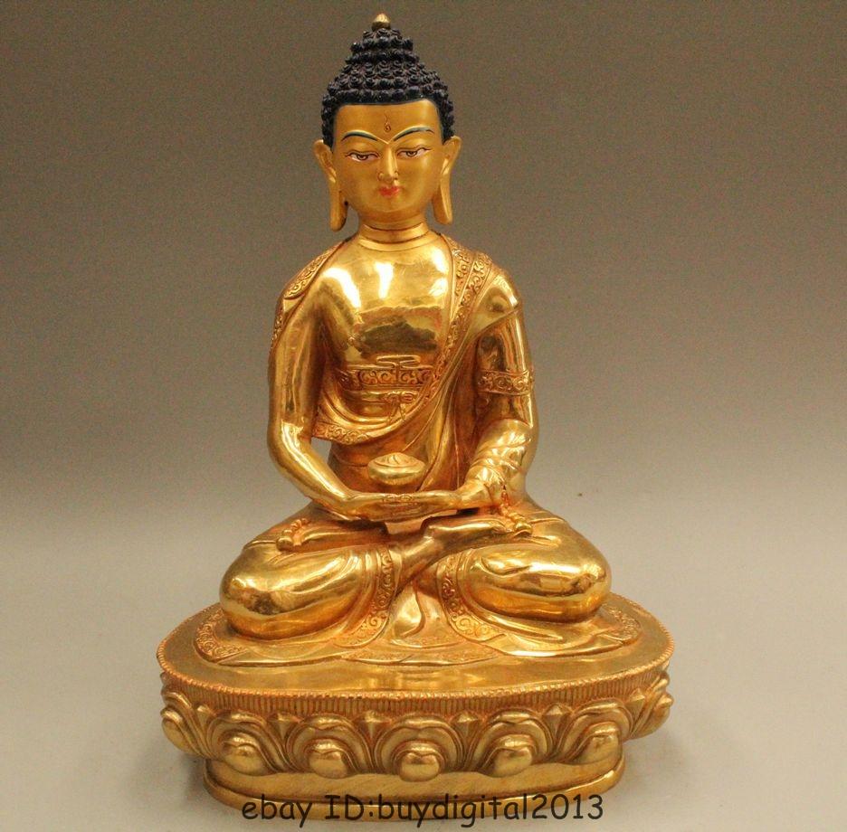 """6.6/"""" Chinese Tibetan Buddhism Bronze Seat Shakyamuni Sakyamuni Buddha Statue"""