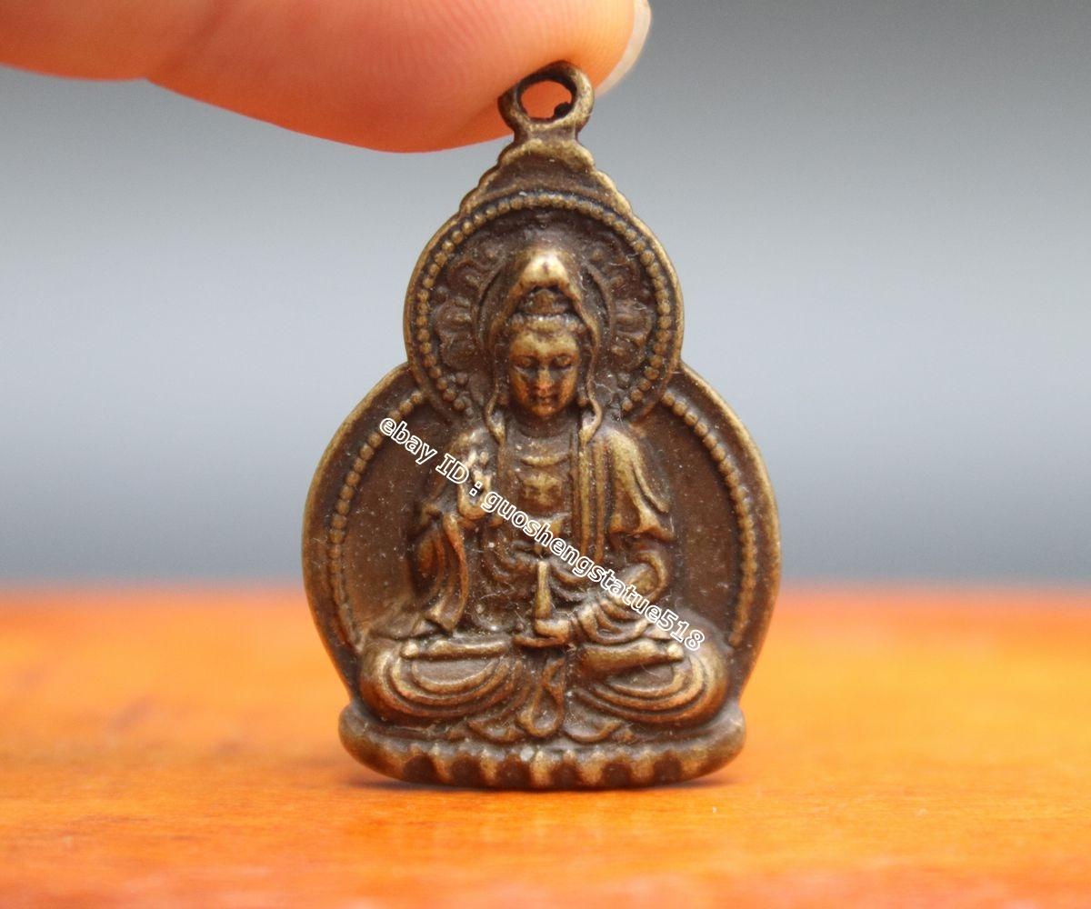 """1.7/"""" Nepal Tibetan Buddhism Bronze 4 Arms Kwan-yin Tara Guan Yin Amulet Pendant"""