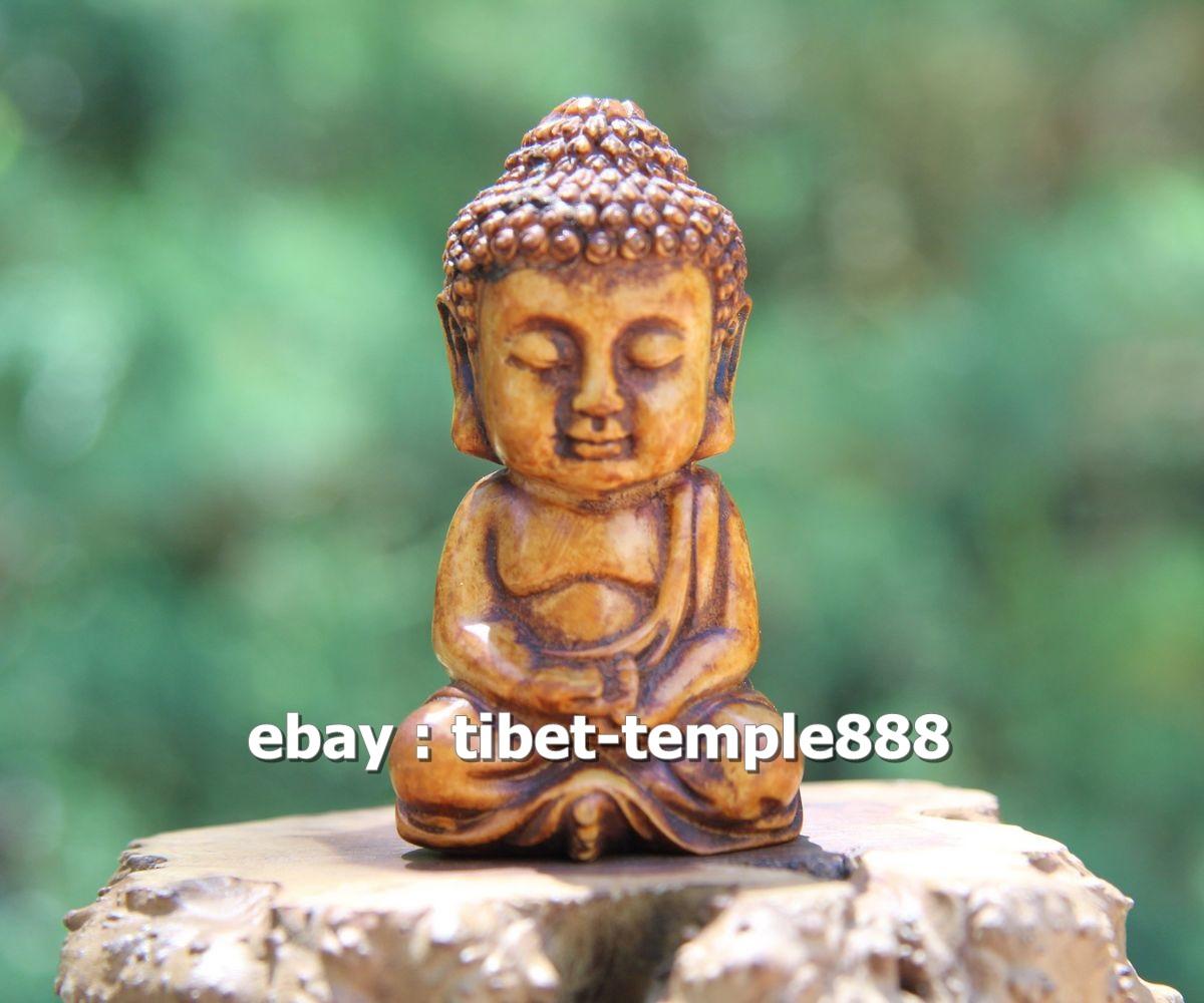 """3.9/"""" China Box-wood HandCarved Buddhism Sakyamuni Tathagata Buddha Buddha Statue"""