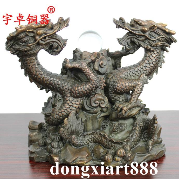 3 cm China Pure Bronze Copper Feng Shui Lucky Zodiac Animal Dragon Statue