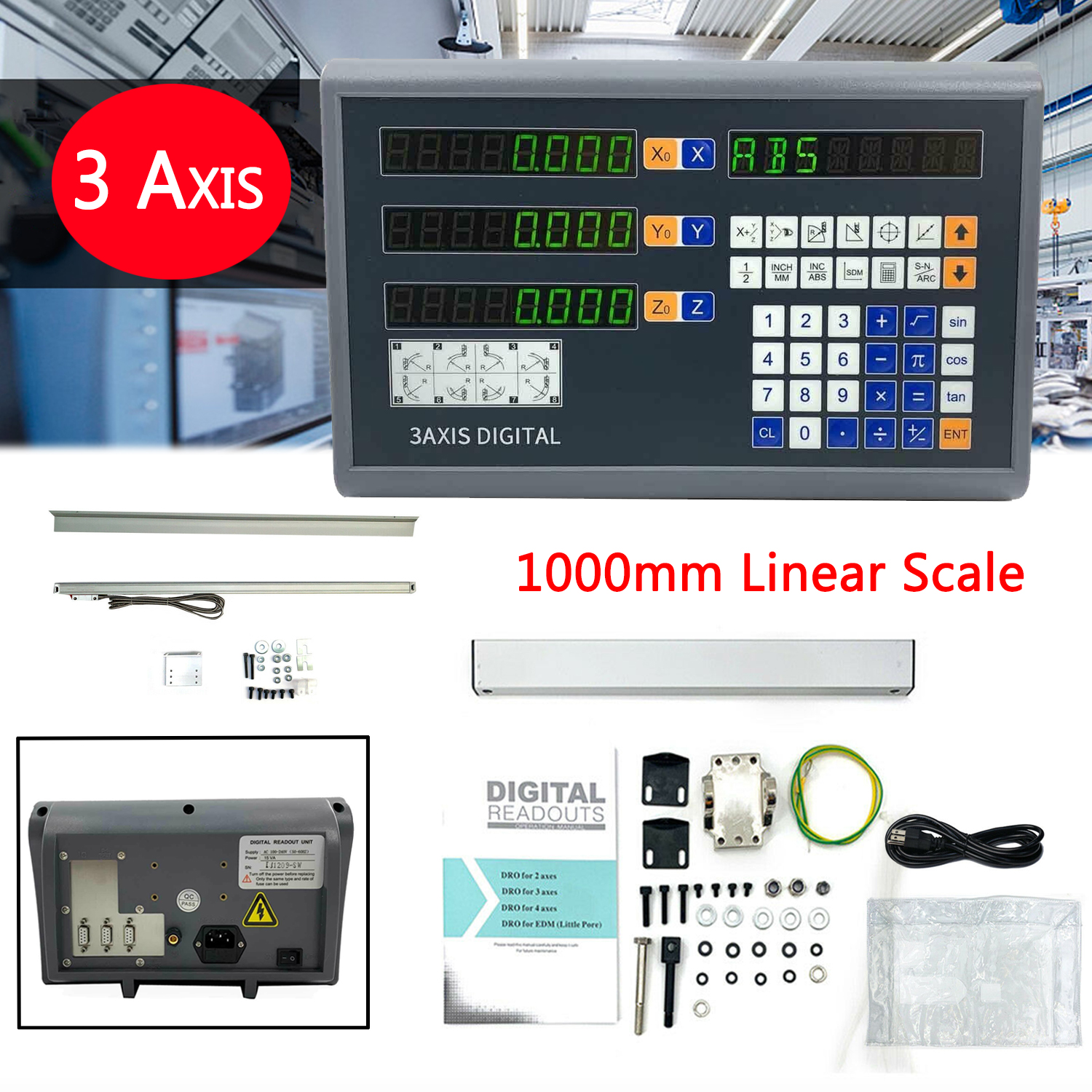 3 Axis Digital Readout Display Lathe Machine Replace Linear Encoder Accuracy