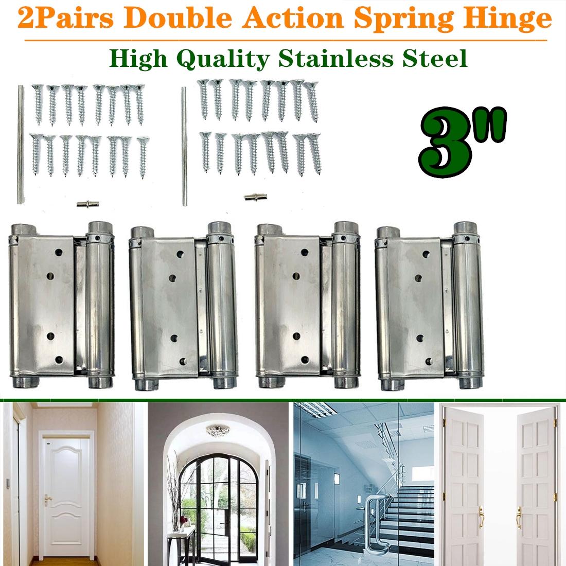 """2 5/"""" Adjustable Double Action Spring Hinge Saloon Swing Door w Screws Black"""