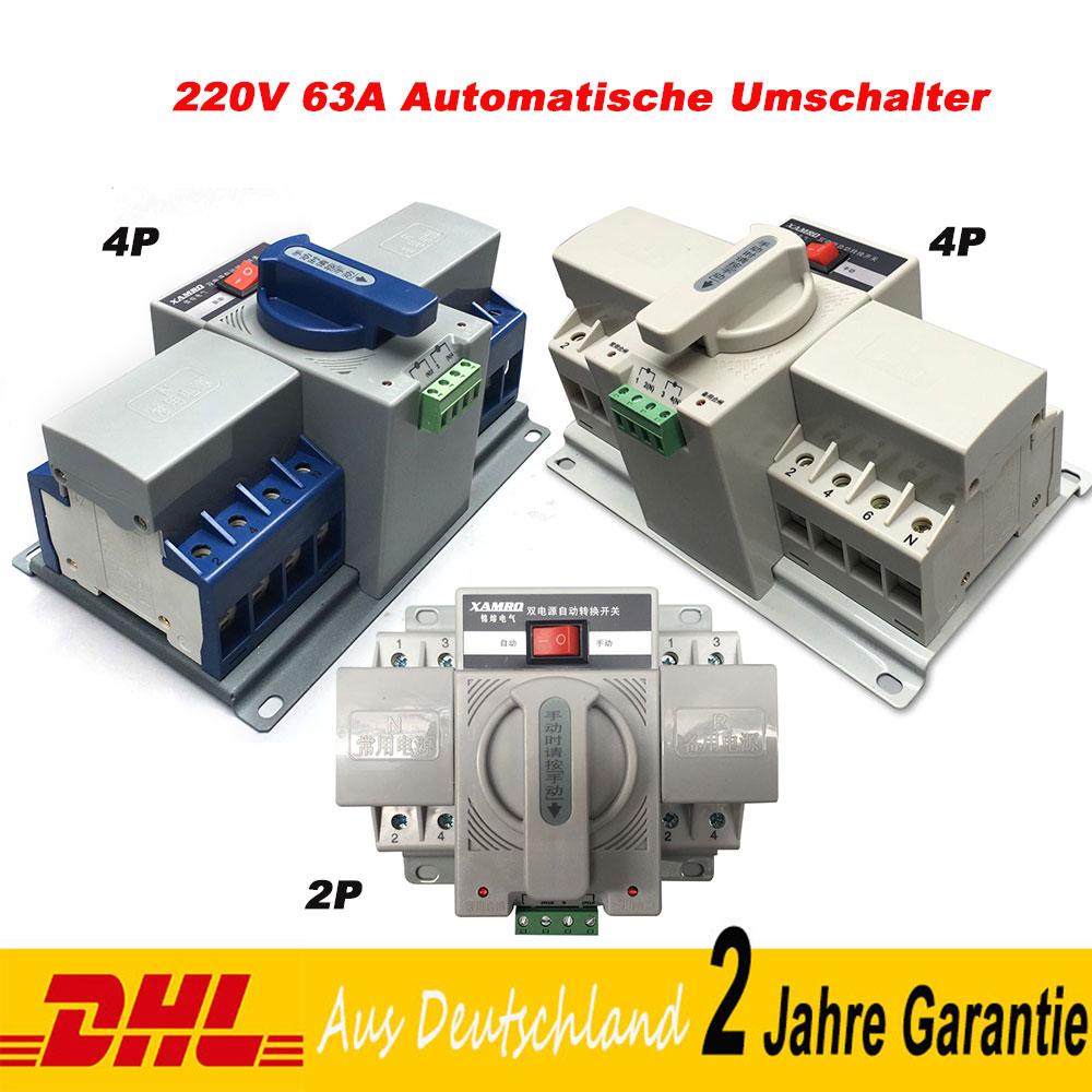 220V 63A Mini Automatische Umschalter Leistungschalter Transferschalter
