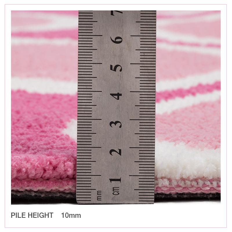 Pink Ivory Floor Rug Trellis Diamond Zig Zag Soft Kids