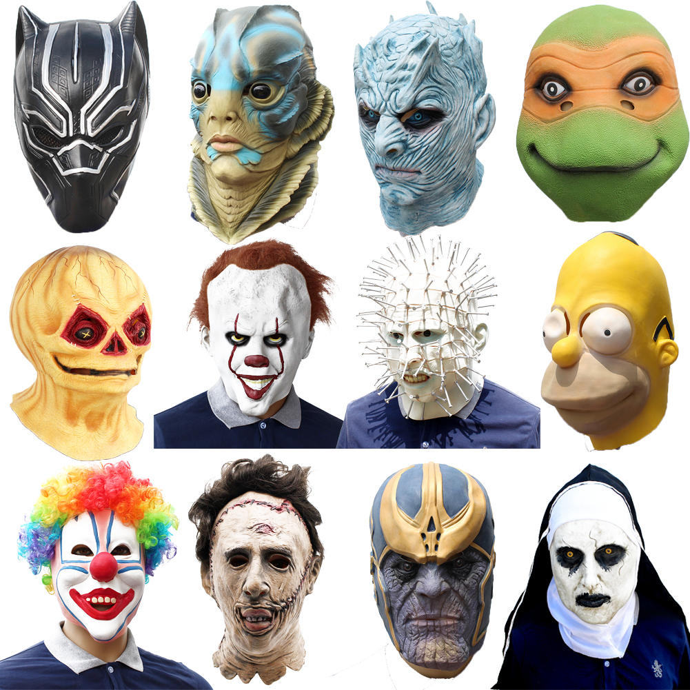 Merman Mask Latex Full Head Halloween Deluxe Adult Party Fancy Dress Mask