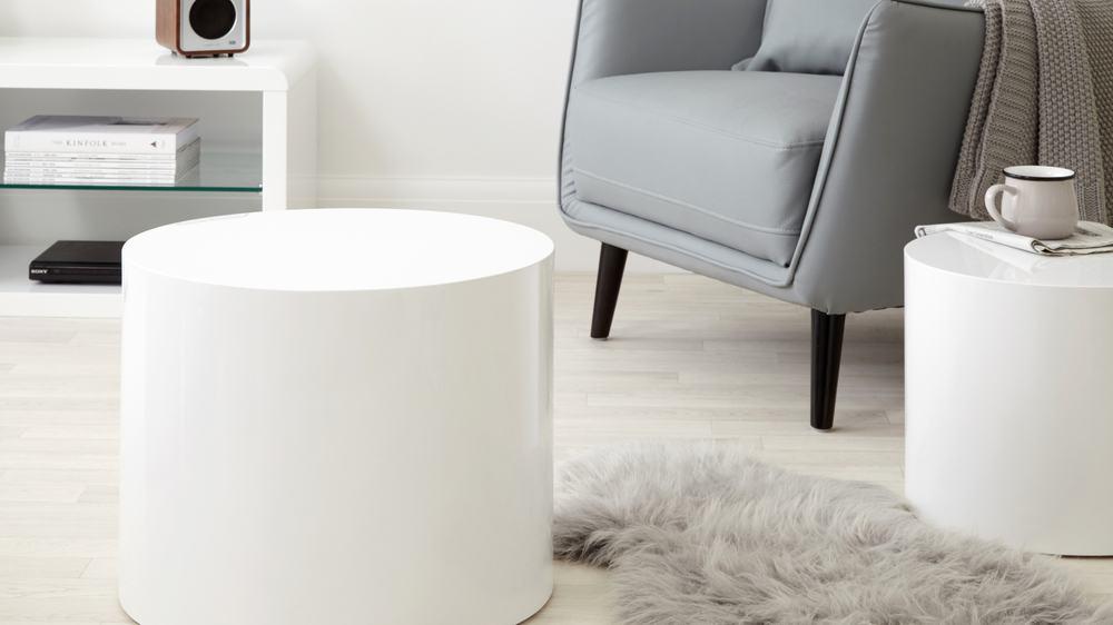 Natsen Couchtisch Oval Wohnzimmertisch Hochglanz Weiss Beistelltisch