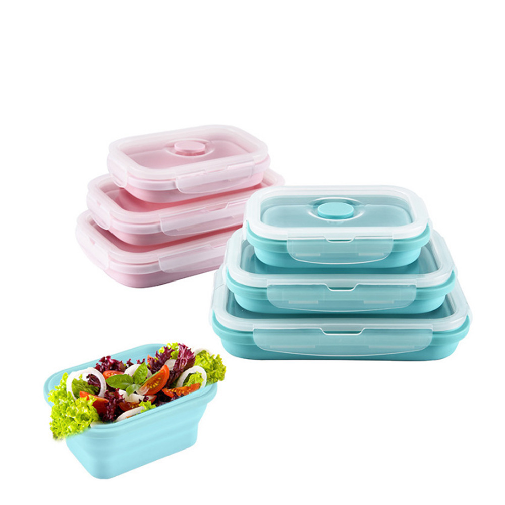 Silicone Folding Collapsible Lunch Box Stackable Food Storage