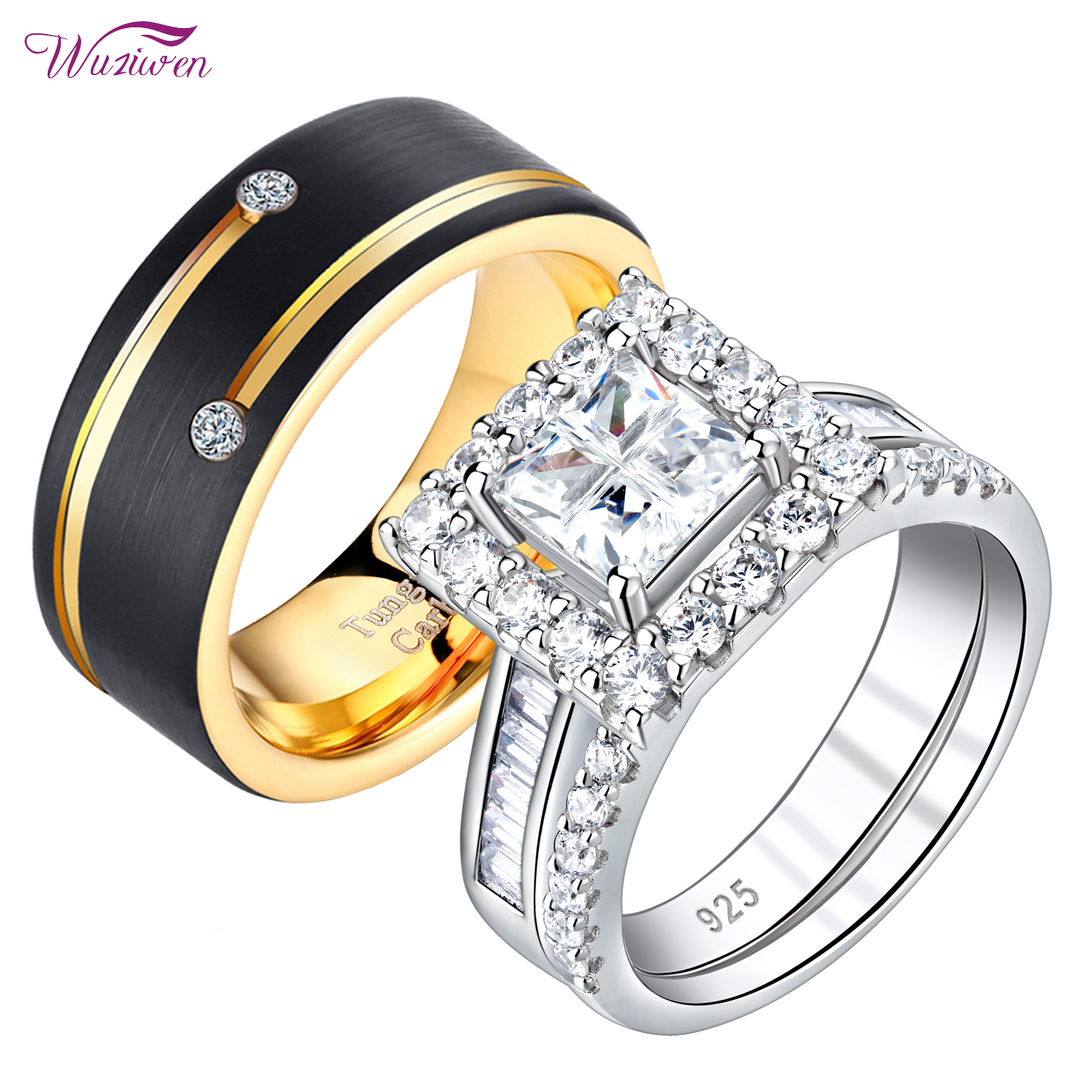 Stainless Steel 2 Color Celtic Infinity Comfort Fit Wedding Flat Band Ring with Clear CZ
