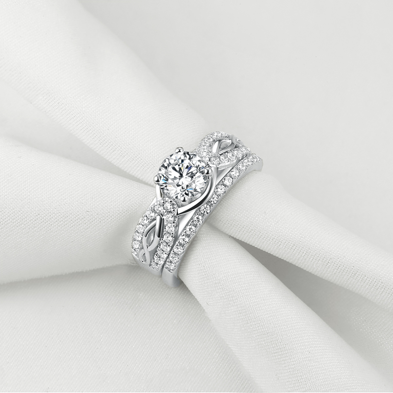 Lovely Bridal Round Cut AAA CZ 925 Sterling Silver Wedding Engagement Ring Set