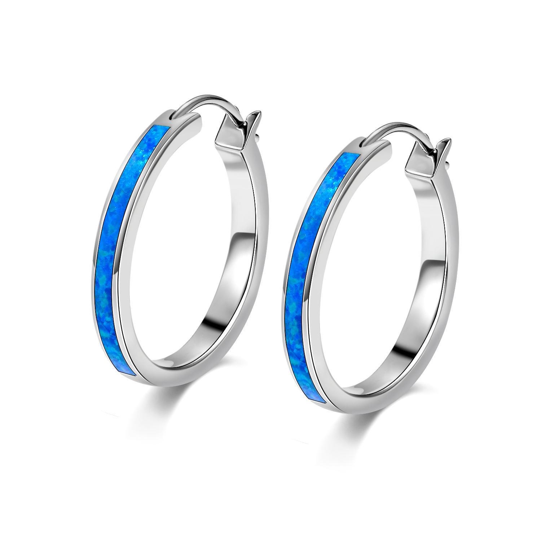 23f3728d7a943d Gemstone Hoop Earrings For Women Blue Fire Opal Sapphire Cz 925 ...