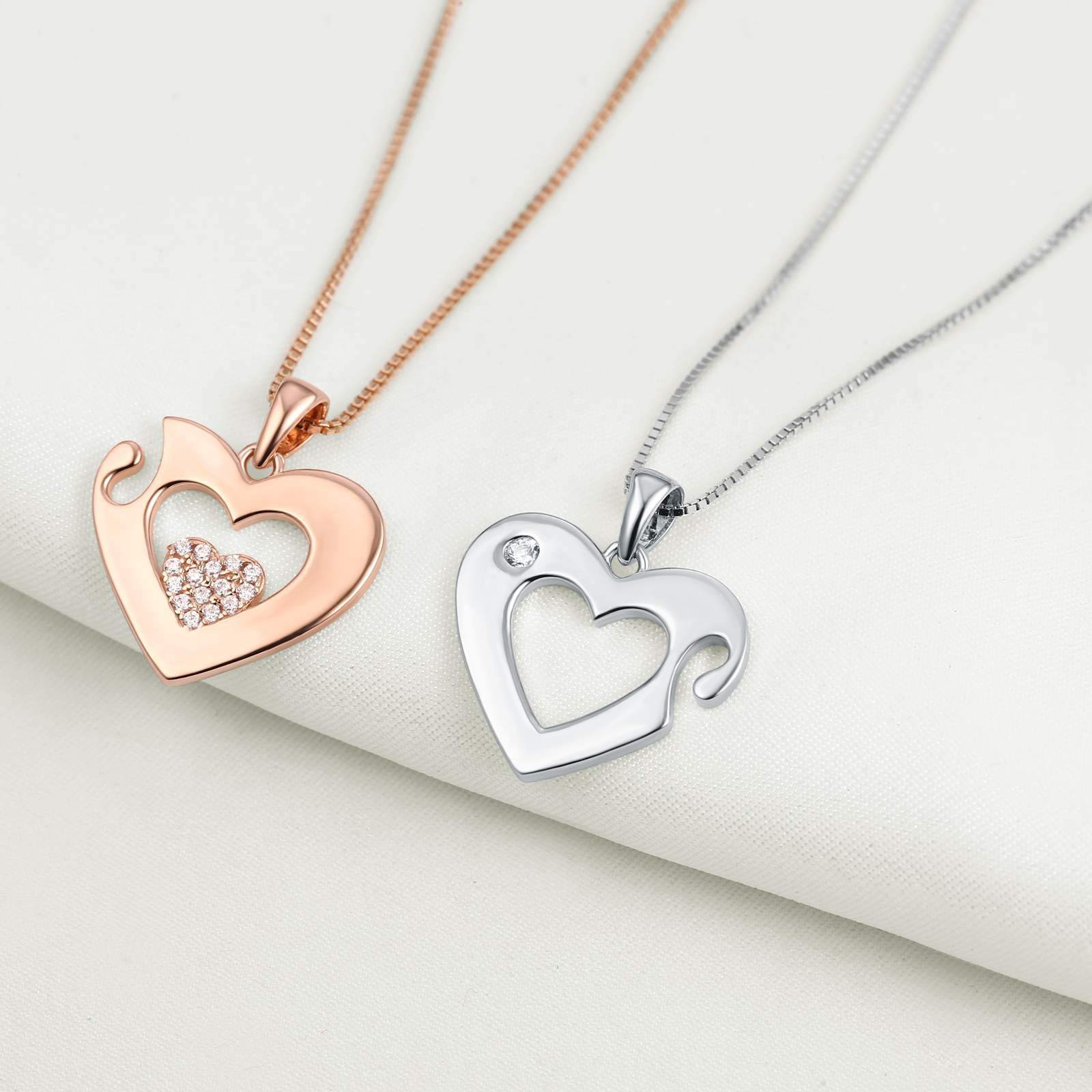 Mens womens 2pcs aaa cz 925 sterling silver rose gold heart mens womens 2pcs aaa cz 925 sterling silver rose gold heart pendant necklace aloadofball Gallery