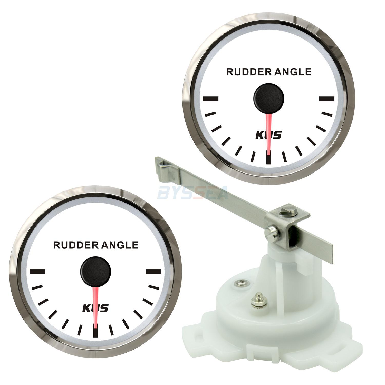 Double KUS Boat Rudder Angle Gauge Indicator W// Dual Station Rudder Sensor