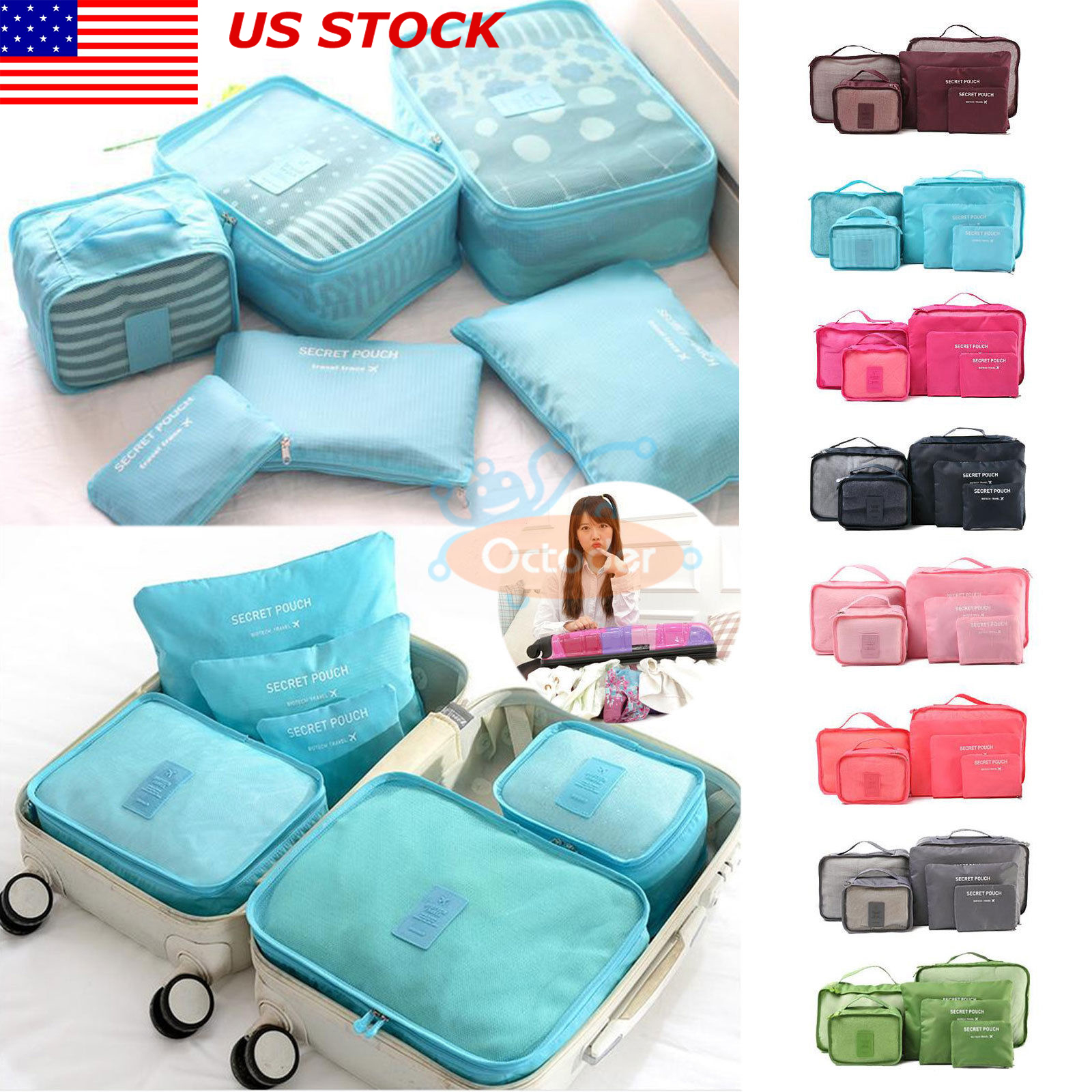 8710404942a Details about US 6Pcs Travel Waterproof Clothes Storage Bags Pack Cube  Luggage Organizer Pouch