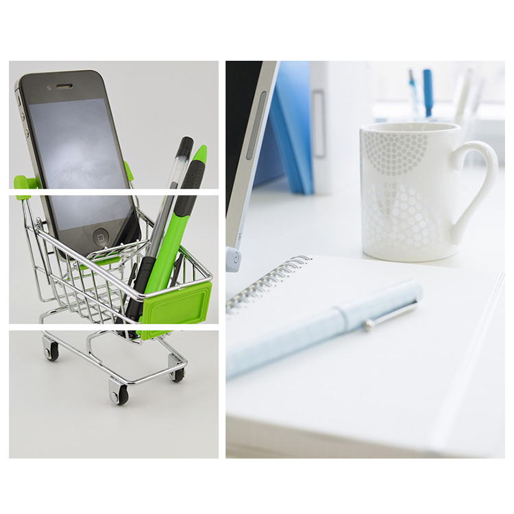 Mini Ping Cart Desktop Small Carts Mobile Phone Holder Storage